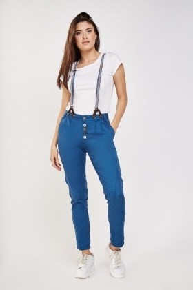 Braces Trim Casual Chino Trousers