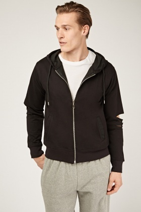 Cut Out Sleeve Hoodie Jacket