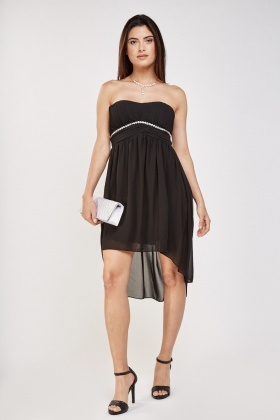 Embellished Pleated Bandeau Dress