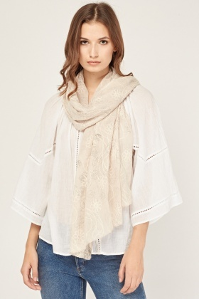 Embroidered Print Contrast Scarf