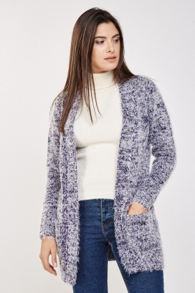 Eyelash Knit Navy Cardigan