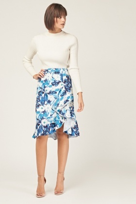 Flower Print Ruffle Skirt
