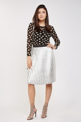 Star Print Lurex Mesh Top