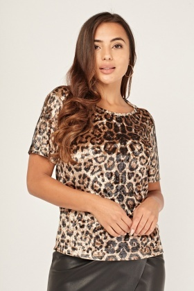 Animal Print Ruched Velveteen Top