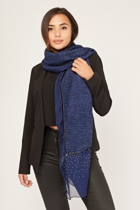 Encrusted Knit Contrast Scarf
