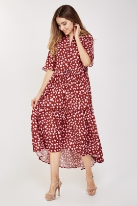 Heart Print Frilly Maxi Dress