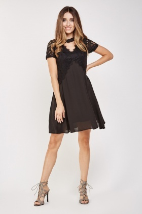 Lace Insert Chiffon Skater Dress