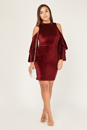 Layered Cold Shoulder Velveteen Dress