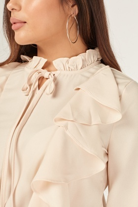 Layered Ruffle Overlay Blouse
