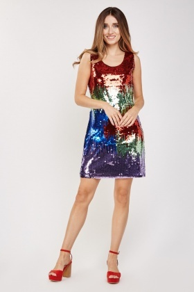 Multi Coloured Sequin Shift Dress