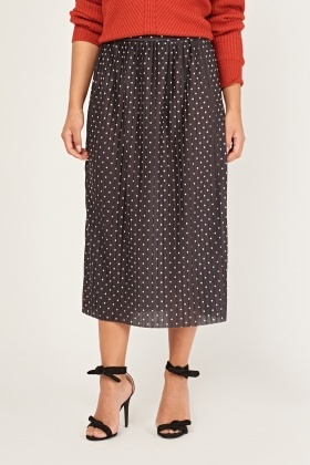 Pleated Polka Dot Midi Skirt