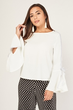 Tie Up Flared Sleeve Blouse