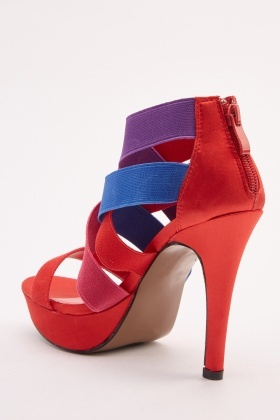 Colour Block Strappy Heel Sandals