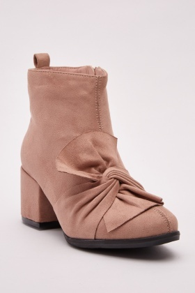 Knotted Front Suedette Boots