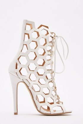 Laser Cut Suedette Sandals