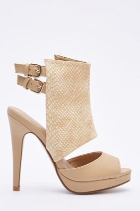 Mock Croc Cut Out Sandals