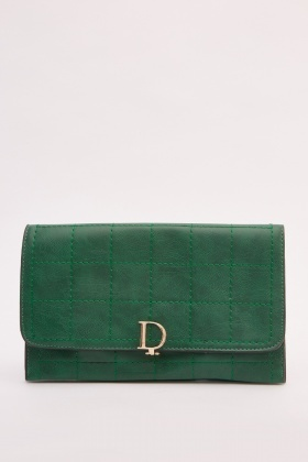 Stitched Window-Pane Clutch Bag