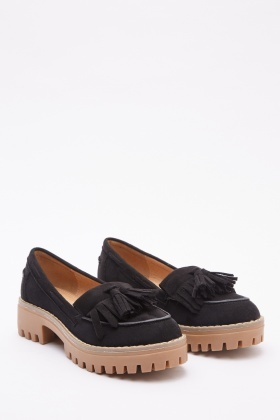 Suedette Fringed Loafers