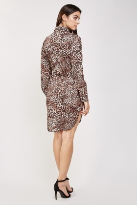 Cheetah Print Shirt Dress