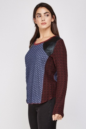 Contrasted Metallic Textured Top