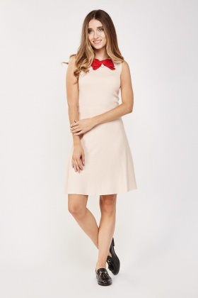 Faux Pearl Bow Trim Shift Dress