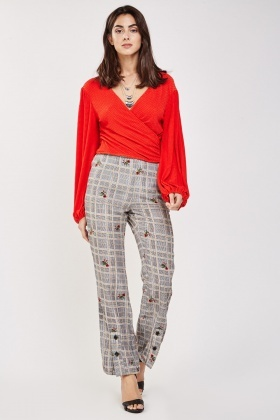 Floral Glen Check Flared Trousers