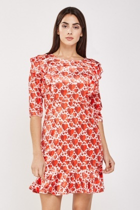 Heart Print Ruffled Velveteen Dress