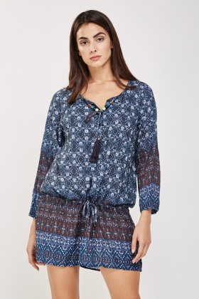 Moroccan Tile Print Tunic Dress