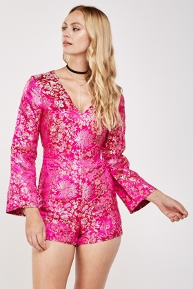 Oriental Flower Embroidered Sateen Playsuit
