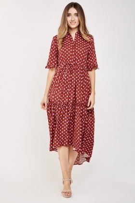 Star Print Ruffled Midi Dress
