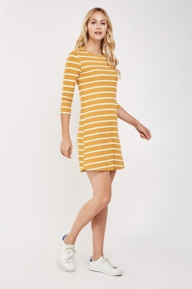 Striped Ribbed Shift Dress