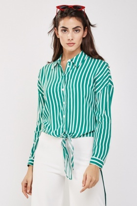 Tie Up Pin Striped Shirt