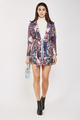 Tie Up Retro Print Jacket