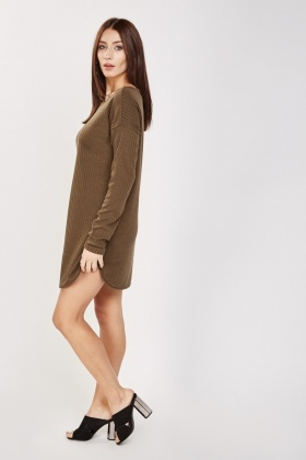 Basic Long Sleeve Rib Dress