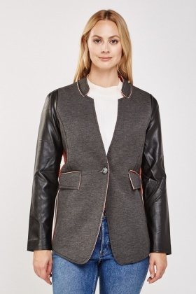 Faux Leather Contrast Coat