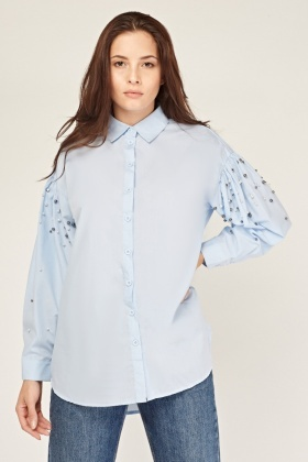 Faux Pearl Long Sleeve Shirt