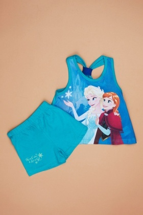 Frozen Print Girls Vest And Shorts Set