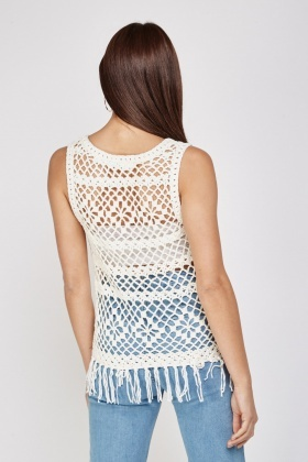 Knitted Crochet Fringe Top Cream Or Charcoal Just 5