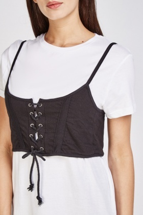 Lace Up Corset Overlay T-shirt