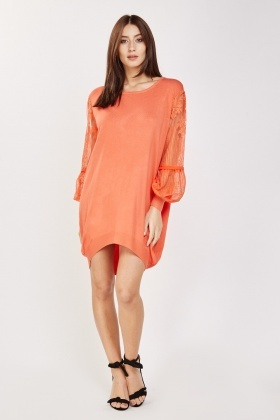 Mesh Sleeve Dip Hem Dress