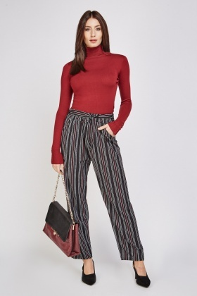 Multi Striped Wide Leg Trousers