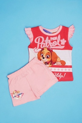 Paw Patrol Print Girls Top And Shorts Set