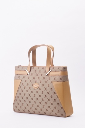 Contrasted Faux Leather Trim Tote Bag