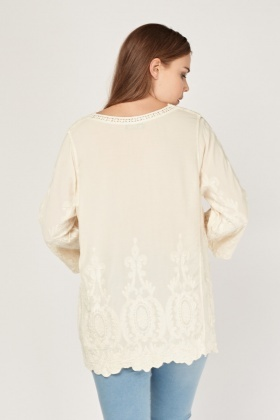 Embroidered Crochet Top