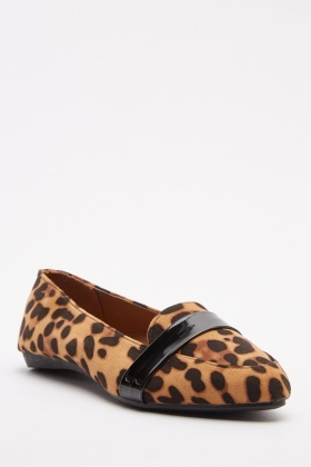 Leopard Print Slip On Loafers