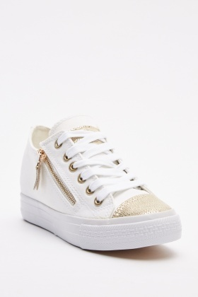 Metallic Lace Up Platform Trainers