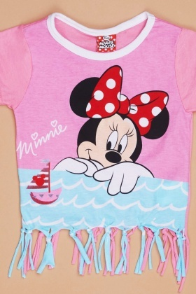 Mini Mouse Print Top And Shorts Set