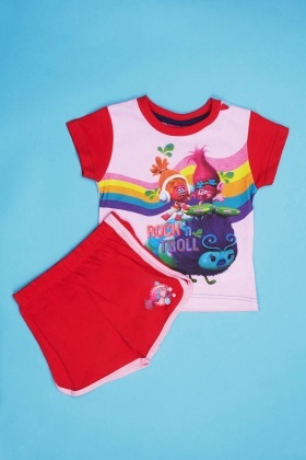 Trolls Print Top And Shorts Set
