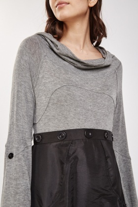 Contrasted Cowl Neck Hooded Dress