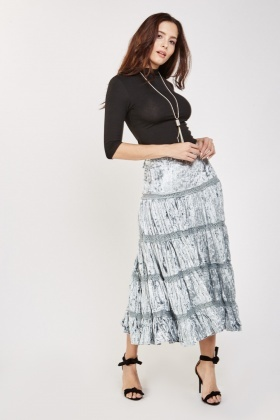 Crochet Trim Maxi Velveteen Skirt